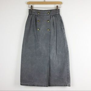 Vintage high waisted jean denim midi skirt grey
